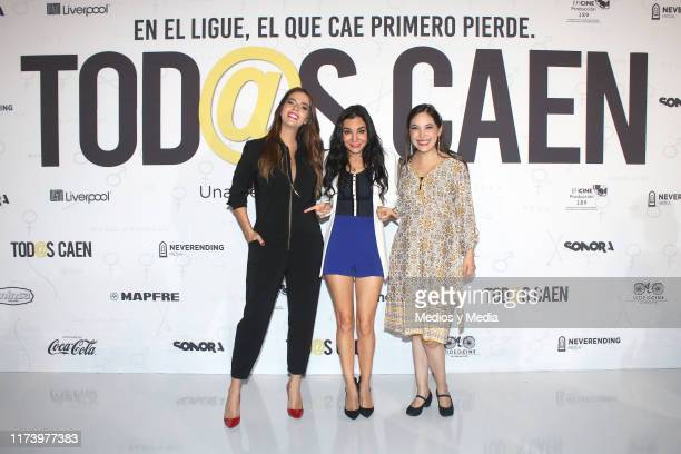Claudia Álvarez Martha Higareda and Miri Higareda pose for photos during the press conference to present the film 'Tod@s Caen' at Cinepolis...