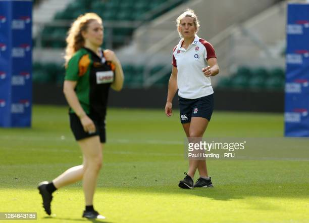 Claudia MacDonald of the England Red Roses squad coaches at the launch of Ready4Rugby the non contact return to community rugby at Twickenham Stadium...