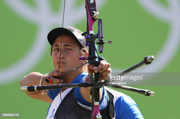 Claudia Mandia of Italy competes during the Women's Team Eliminations match between Brazil and Italy on Day 2 of the Rio 2016 Olympic Games at the...
