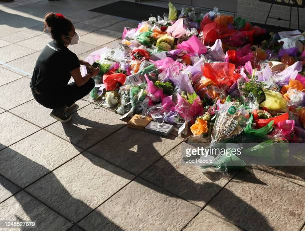 Claudia Marcias prays before a memorial for George Floyd set up outside the Fountain of Praise church where his funeral is to take place on June 9...