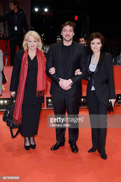 Claudia Messner Ronald Zehrfeld and Maja Maranow attend the 'Beloved Sisters' premiere during 64th Berlinale International Film Festival at Berlinale...