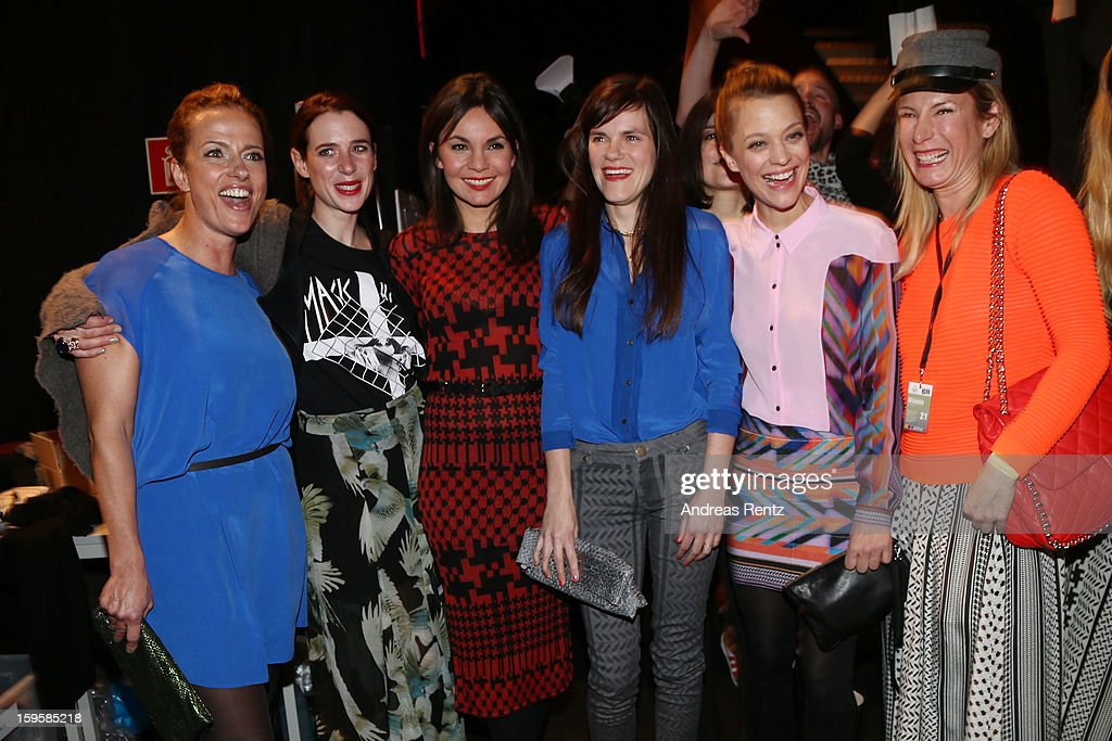 Claudia Michelsen, Julia Malik, Nadine Warmuth, Fritzi Haberland and Heike Makatsch backstage after the Lala Berlin Autumn/Winter 2013/14 fashion show during Mercedes-Benz Fashion Week Berlin at Brandenburg Gate on January 16, 2013 in Berlin, Germany.