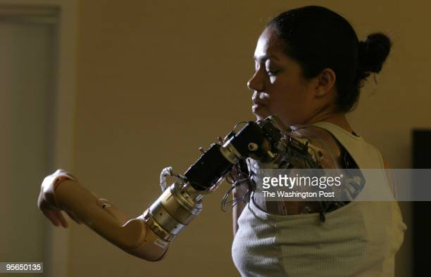 Claudia Mitchell who lives in Ellicott City is the first woman to be equipped with a bionic arm She can think to make it move She is pictured in a...