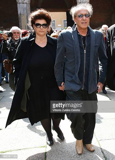 Claudia Mori and Adriano Celentano attend the funeral of Singer Enzo Jannacci at Basilica di Sant'Ambrogio on April 2, 2013 in Milan, Italy.
