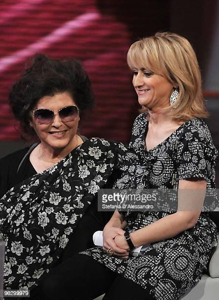 Claudia Mori and Luciana Littizzetto attend 'Che Tempo Che Fa' Italian Tv Show on January 30 2010 in Milan Italy