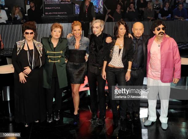 Claudia Mori Mara Maionchi Simonam Ventura Morgan Anna Tatangelo Enrico Ruggeri and Elio attend X Factor Italian TV Show held at Rai Studios on...