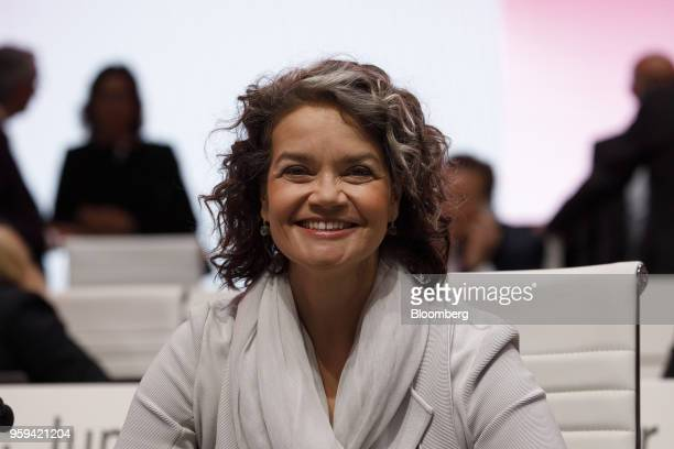 Claudia Nemat board member of Deutsche Telekom AG poses for a photograph during the company's shareholders' meeting in Bonn Germany on Thursday May...