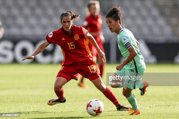 Claudia Neto of Portugal and Silvia Meseguer of Spain battle for the ball during the Group D match between Spain and Portugal during the UEFA Women's...