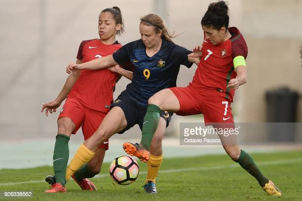 Claudia Neto of Portugal competes for the ball with Emily Condon of Australia during the Women's Algarve Cup Tournament match between Portugal and...