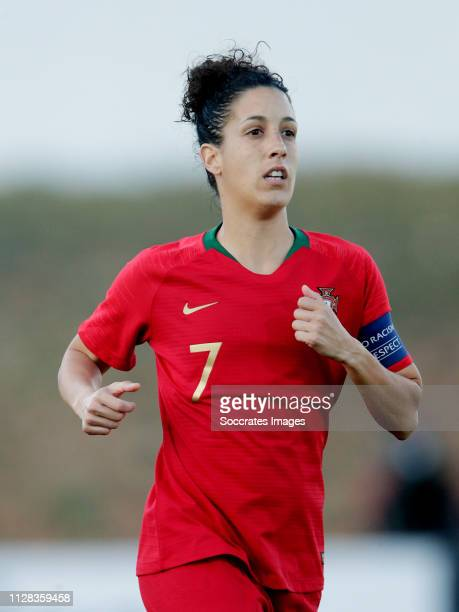 Claudia Neto of Portugal Women during the Algarve Cup Women match between Portugal v Sweden at the Estadio Municipal de Albufeira on March 1 2019 in...