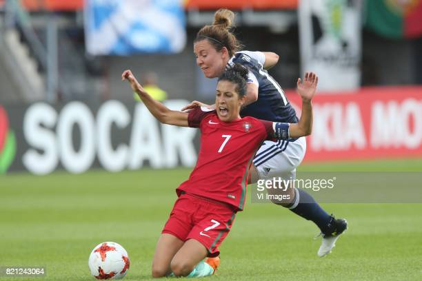 Claudia Neto of Portugal women Rachel Corsie of Scotland women during the UEFA WEURO 2017 Group D group stage match between Scotland and Portugal at...