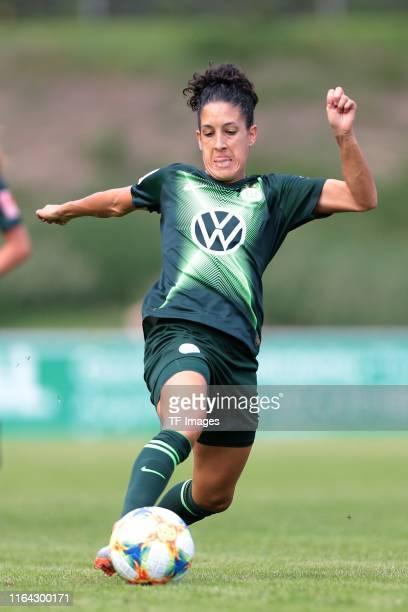 Claudia Neto of VfL Wolfsburg controls the ball during the FLYERALARM Frauen Bundesliga match between MSV Duisburg and VfL Wolfsburg at PCCStadion on...