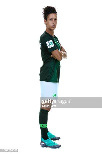 Claudia Neto of VfL Wolfsburg poses during the Allianz Frauen Bundesliga Club Tour at AOK Stadion on July 26 2018 in Wolfsburg Germany