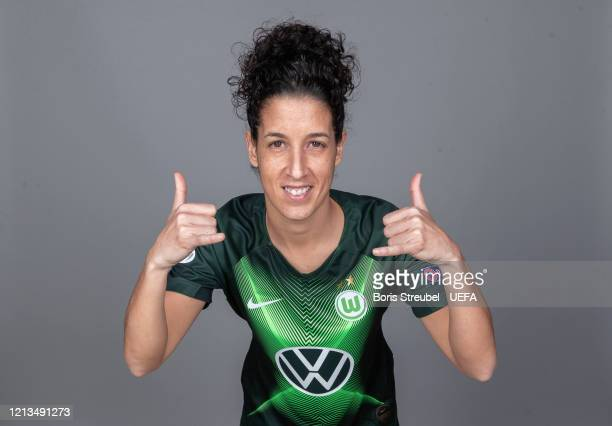 Claudia Neto of Wolfsburg poses during the UEFA Women's Champions League Portrait Shoot on February 25 2020 in Wolfsburg Germany
