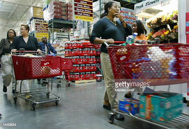 Claudia Noel shops at BJ's Warehouse October 1 2002 at the Gateway Center in Brooklyn New York during the grand opening of the strip mall offering...