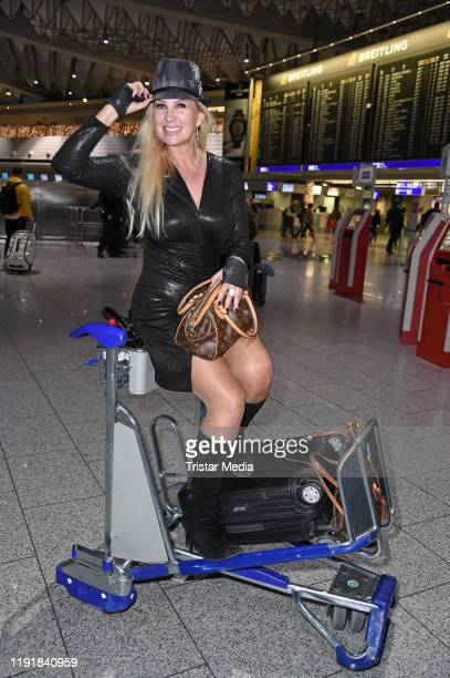 Claudia Norberg leaves for RTL TV show 'I'm a celebrity Get Me Out Of Here' in Australia at Frankfurt International Airport on January 5 2020 in...