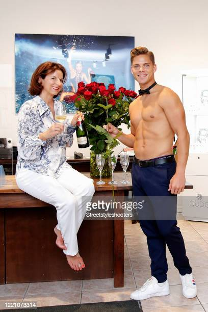 Claudia Obert and Cedric Beidinger host champagne happy hour in Claudia Obert's fashion store in Berlin on June 18, 2020 in Berlin, Germany.
