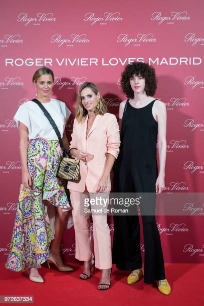 Claudia Ortiz Domeq Andrea Pascual and Brianda Fitz James Stuart attend 'Roger Vivier Loves Madrid' party at Palacio Fernan Nunez on June 12 2018 in...