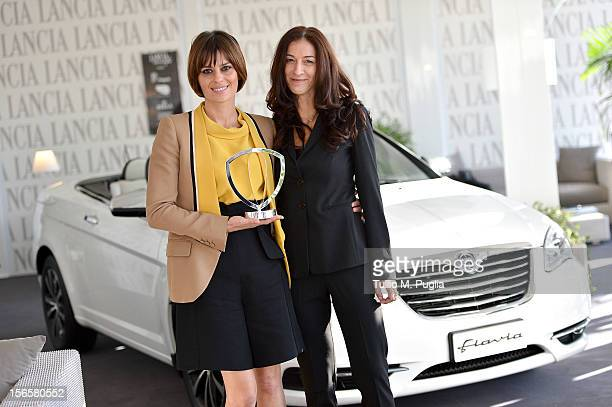 Claudia Pandolfi and Antonella Bruno with the Lancia award attend the 7th Rome Film Festival at Lancia Cafe on November 17 2012 in Rome Italy