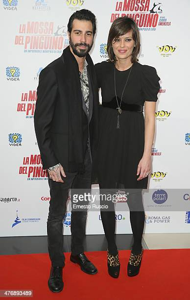 Claudia Pandolfi and boyfriend Marco De Angelis attend the 'La Mossa Del Pinguino' premiere at Cinema Adriano on March 5 2014 in Rome Italy
