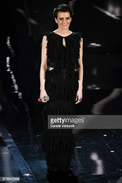Claudia Pandolfi attends the third night of the 68 Sanremo Music Festival on February 8 2018 in Sanremo Italy