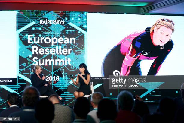 Claudia Pechstein and Ilijana Vavan hold a speech at the Kaspersky Lab European Reseller Summit 2018 on June 12 2018 in Milano Marittima Cervia Italy...