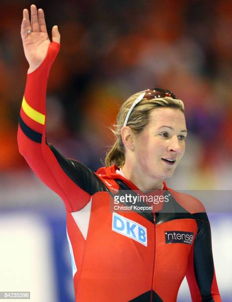 Claudia Pechstein of Germany celebrates her second place after the 500 meter women sprint of the Essent ISU European Speed Skating Championships at...