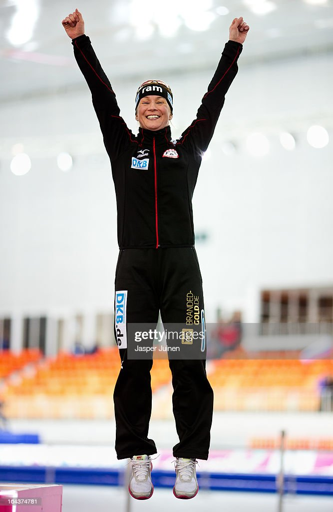 Claudia Pechstein of Germany celebrates on the podium after the 5000m race where she took bronze on day three of the Essent ISU World Single Distances Speed Skating Championships at the Adler Arena Skating Center on March 23, 2013 in Sochi, Russia.