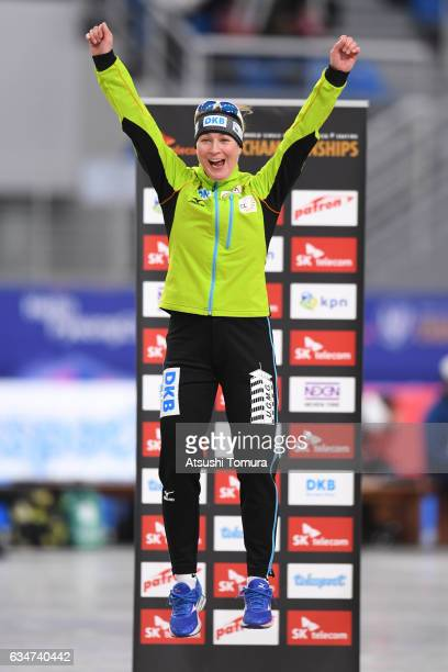 Claudia Pechstein of Germany celebrates on the podium during the ISU World Single Distances Speed Skating Championships - Gangneung - Test Event For...