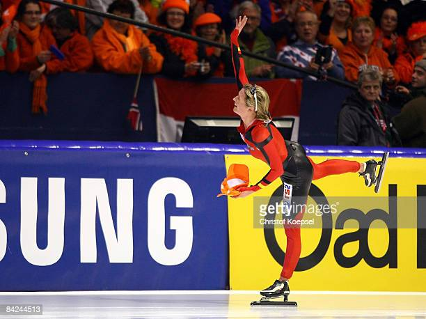 Claudia Pechstein of Germany celebrates winning the European Championships after the Essent ISU European Speed Skating Championships at the Thialf...