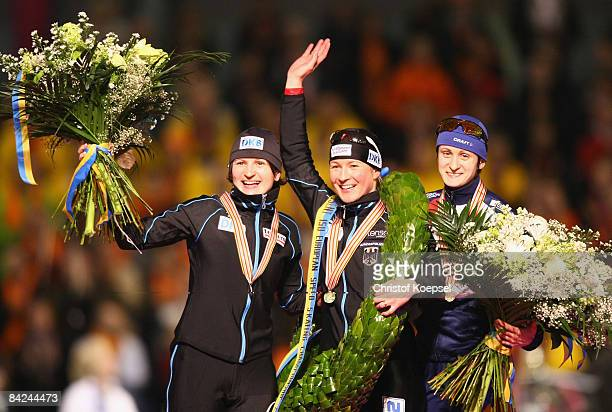 Claudia Pechstein of Germany celebrates winning the European Championships , Daniela Anschuetz-Thoms of Germany celebrates winning the second place...