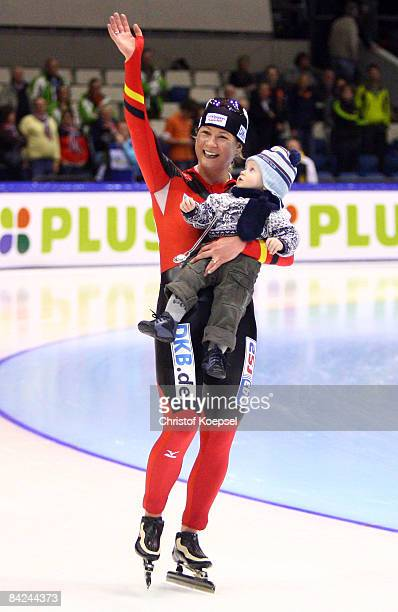 Claudia Pechstein of Germany celebrates winning the European Championships with his cousin after the Essent ISU European Speed Skating Championships...