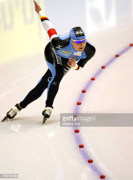 Claudia Pechstein of Germany competes at the women's 500m sprint heat during the World Allround speed skating World Championships on February 9 2007...