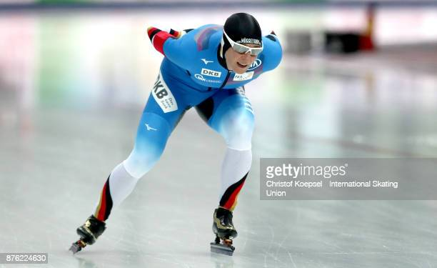 Claudia Pechstein of Germany competes in the ladies 5000m Division A race during Day 3 of the ISU World Cup Speed Skating at Soermarka Arena on...