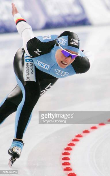 Claudia Pechstein of Germany in action during the women's 1500 meter at the ISU European Speed Skating Championships on January 15, 2006 in Hamar,...