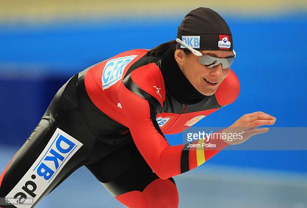 Claudia Pechstein of Germany is seen during her warm up prior to the 3000m heats during Day 1 of the Essent ISU Speed Skating World Cup at the Max...