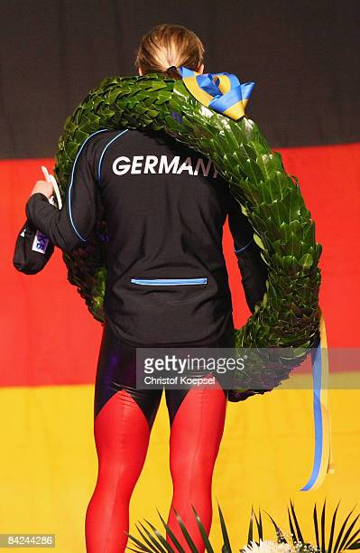 Claudia Pechstein of Germany is seen during the national after winning the European Championships on the podium of the Essent ISU European Speed...