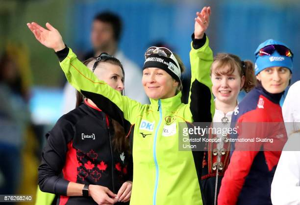 Claudia Pechstein of Germany poses during the medal ceremony after winning the 1st place in the ladies 5000m Division A race during Day 3 of the ISU...