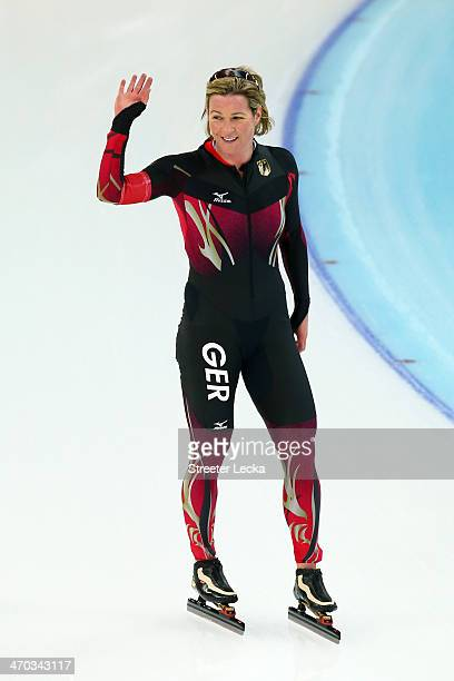 Claudia Pechstein of Germany reacts after during the Women's 5000m Speed Skating event on day twelve of the Sochi 2014 Winter Olympics at Adler Arena...