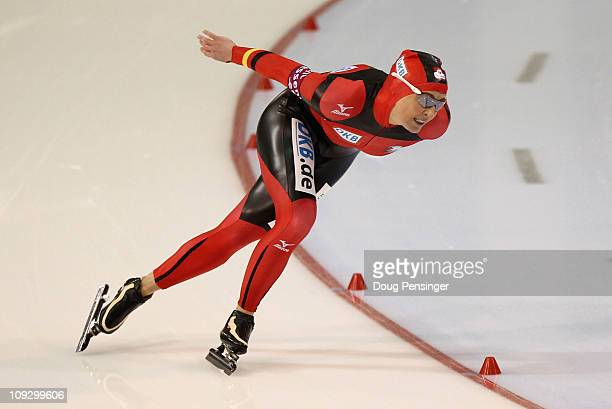 Claudia Pechstein of Germany skate in the Ladies 1500m Division B Race at the Essent ISU Speed Skating World Cup Salt Lake City at the Utah Olympic...