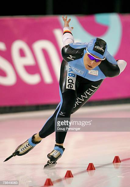 Claudia Pechstein of Germany skates to second place in the Ladies 5000m at the 2007 ISU World Single Distances Speed Skating Championships on March...