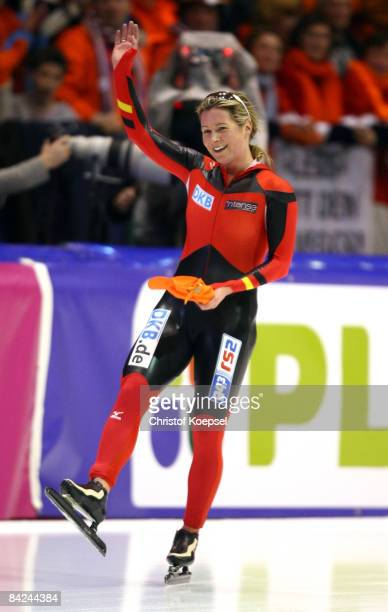Claudia Pechstein of Germany smiles after winning the European Championships after the Essent ISU European Speed Skating Championships at the Thialf...