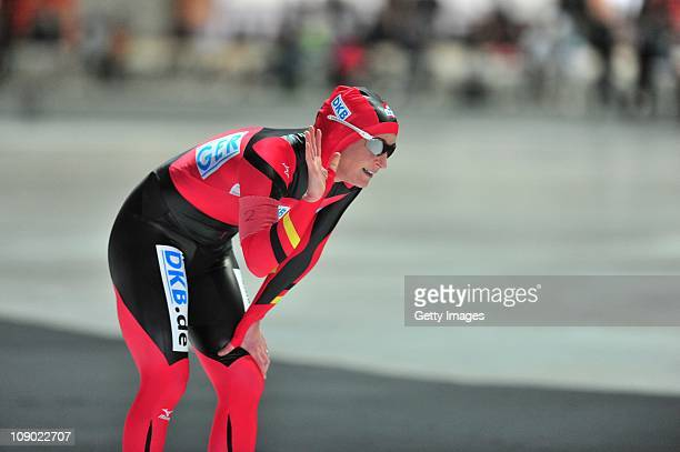 Claudia Pechstein waves after the international competition on February 12 2011 in Erfurt Germany Pechstein received a twoyear ban by the...