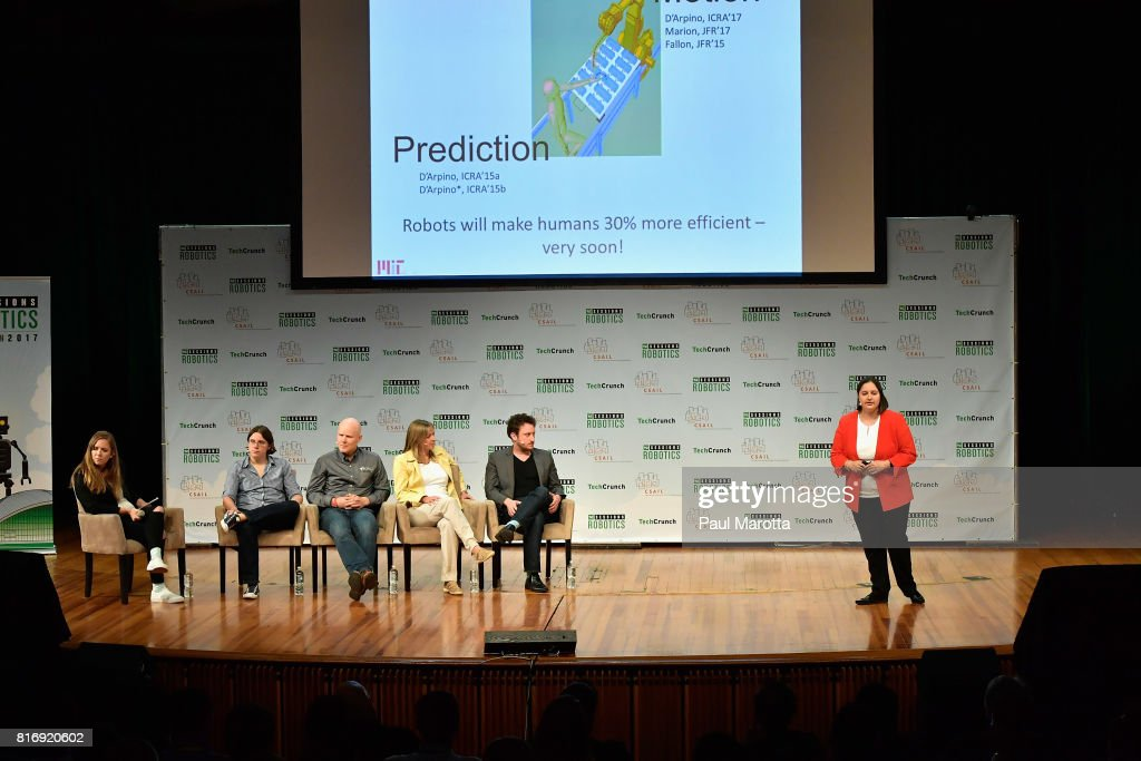 Claudia Perez D'Arpino competes at a Pitch-Off Session that includes judges Jeremy Conrad, Helen Greiner, Daniel Theobold and Melonee Wise at the TechCrunch Sessions: Robotics at Kresge Auditorium on July 17, 2017 in Cambridge, Massachusetts. TechCrunch Sessions: Robotics is a single-day event designed to facilitate in-depth conversation and networking with the technologists, researchers and students of the robotics community as well as the founders and investors and was attended by more than 700 people.