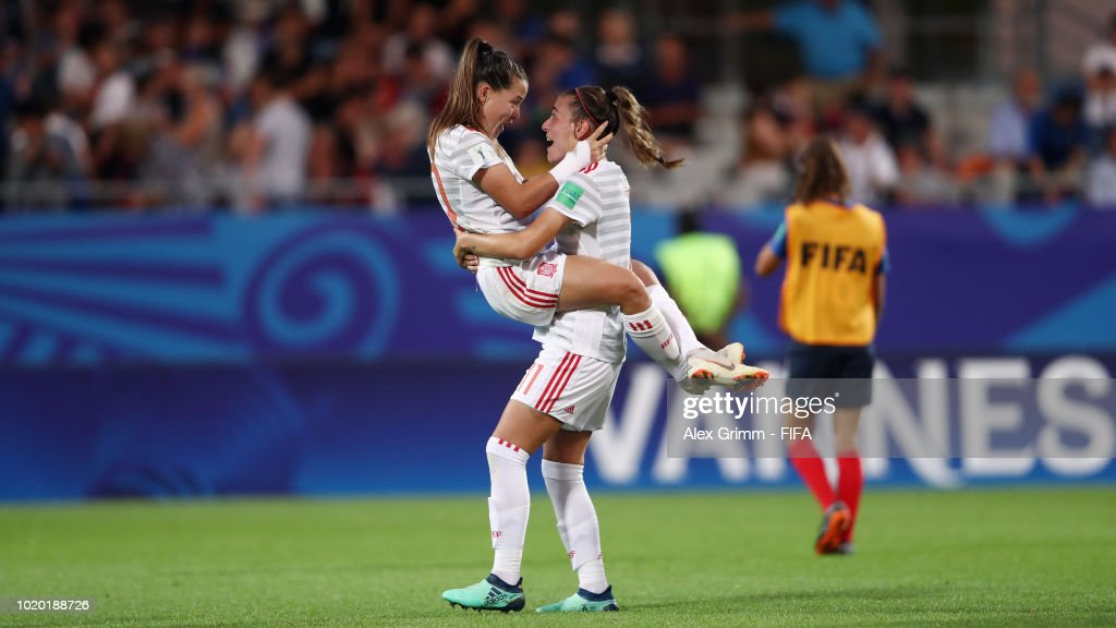 Claudia Pina and Carmen Menayo of Spain celebrate after the FIFA U-20 Women's World Cup France 2018 Semi Final semi final match between France and Spain at Stade de la Rabine on August 20, 2018 in Vannes, France.
