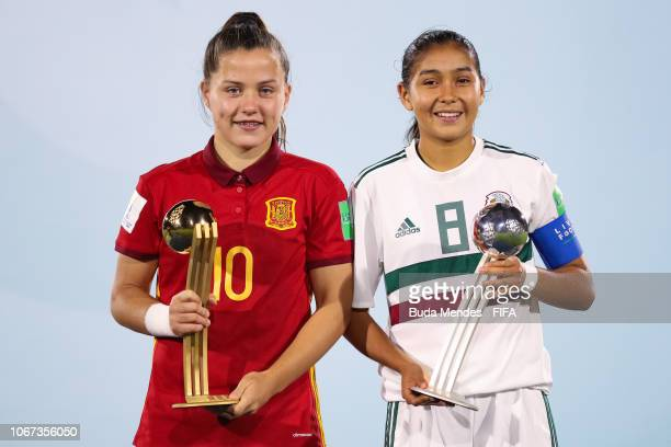 Claudia Pina of Spain and Nicole Perez of Mexico poses with adidas Golden and Silver Ball Award after the FIFA U17 Women's World Cup Uruguay 2018...
