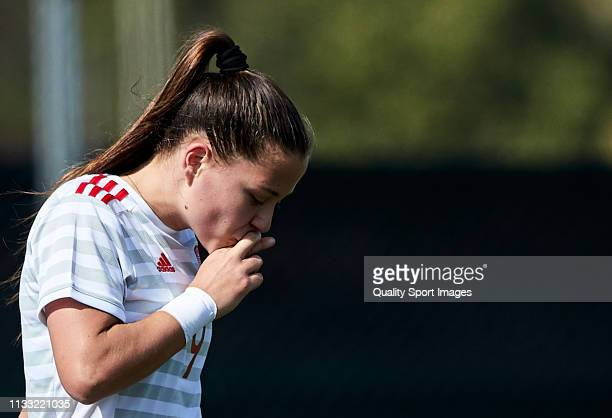 Claudia Pina of Spain celebrates a goal during the 14 Nations Tournament match between U19 Women's Switzerland and U19 Women's Spain at La Manga Club...
