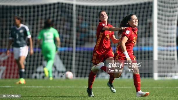 Claudia Pina of Spain celebrates her team's second goal with team mate Eva Navarro during the FIFA U-20 Women's World Cup France 2018 group C match...