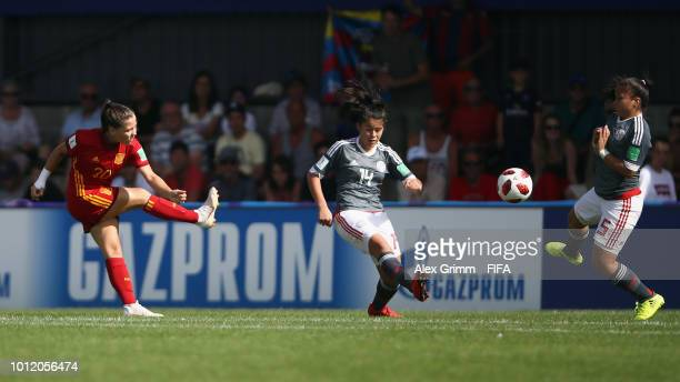 Claudia Pina of Spain scores her team's second goal during the FIFA U-20 Women's World Cup France 2018 group C match between Paraguay and Spain at...