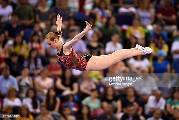 Claudia Prat Herrero of Spain competes in the Women's Gymnastics Trampoline Individual Qualification during day five of the Baku 2015 European Games...